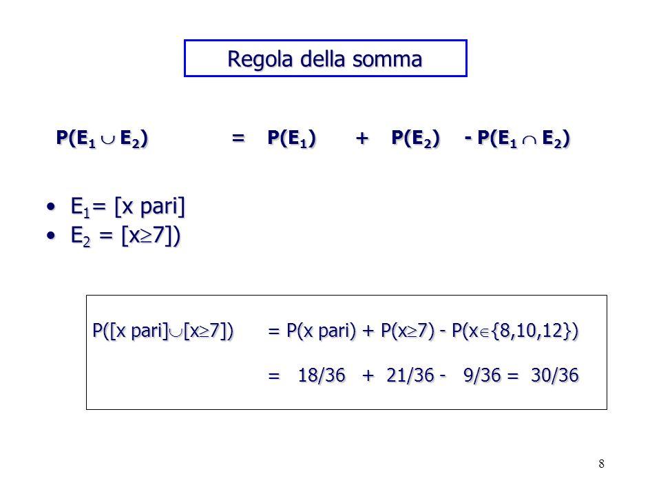 Regola della somma E1= [x pari] E2 = [x7])